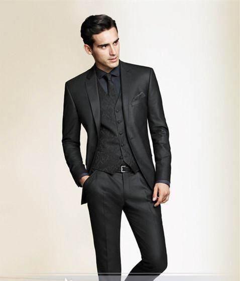 2015 mens wedding suits Black Slim Fit Custom made men tuxedo ...