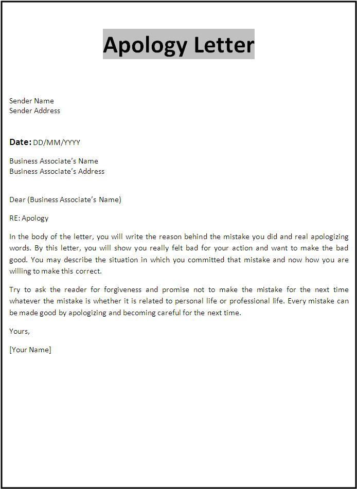 Apology Letter Template  Templates    Letter Templates