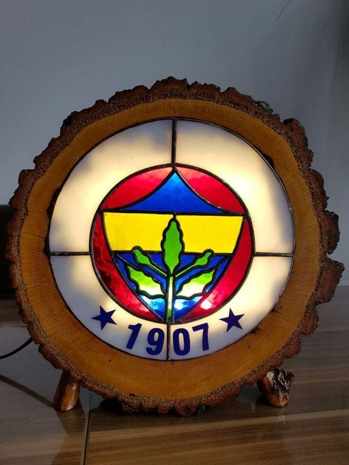 Fenerbahçe Logosu Vitray çalişmasi Meşe Ağaci Dilimi üzerine