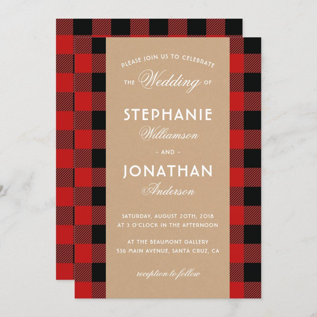 Plaid Save the Date Rustic Save the Date Gingham Save the Date Rustic Wedding Buffalo Check Save the Date Save the Date Card