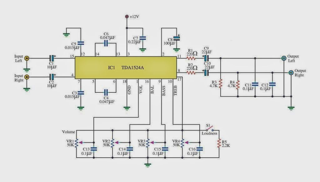 32W Subwoofer Amplifier | Amplifier Circuit | Electronic Projects ...