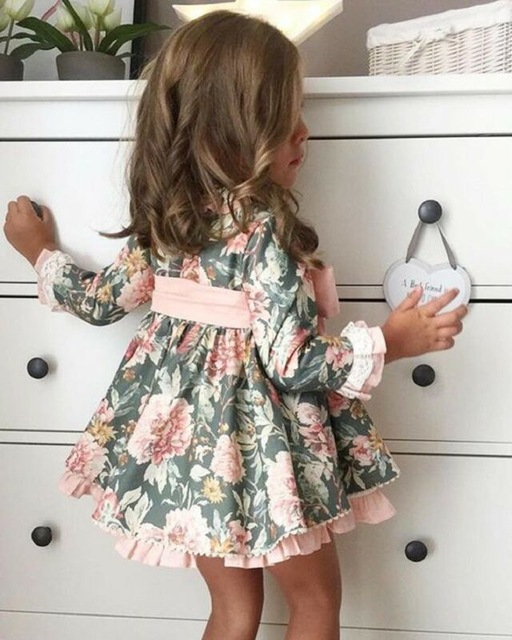 Baby Girl Flower Long Sleeve Bow Tutu Dress Princess Party Dresses Clothes