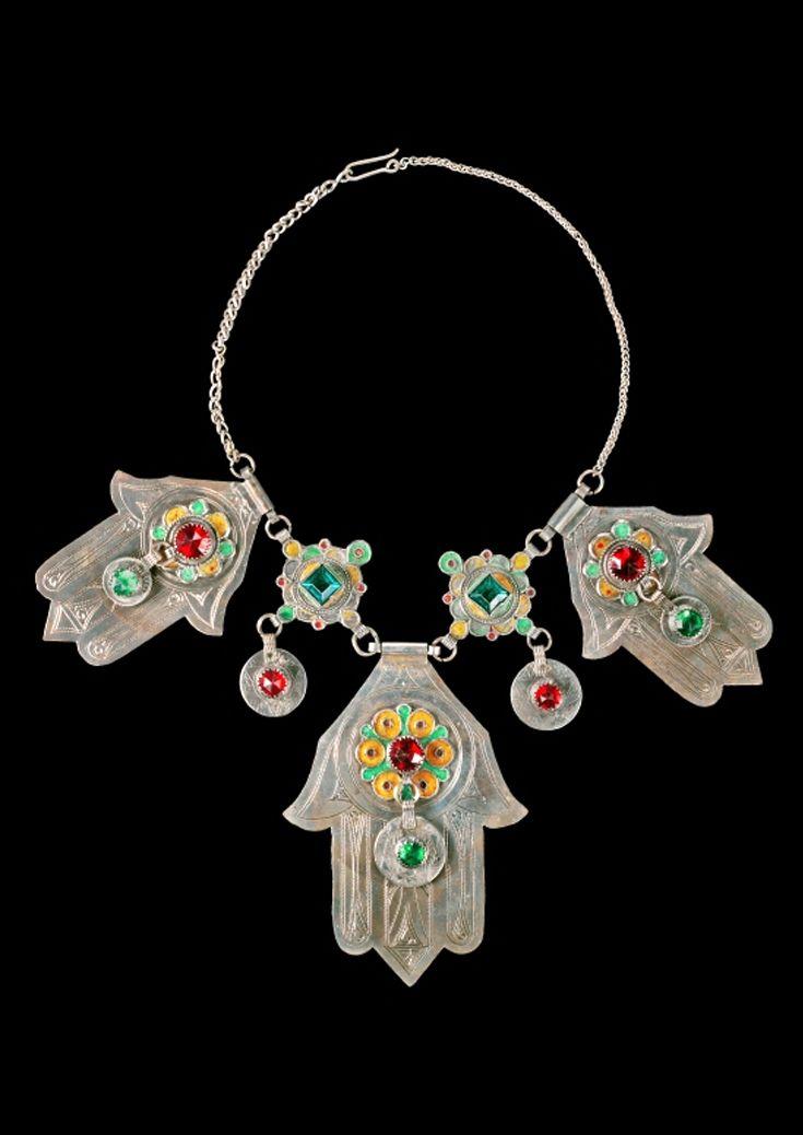 Morocco | Necklace; silver, enamel and glass | Agadir, 1965