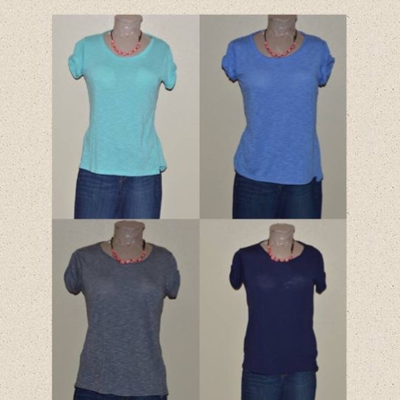 4 Tee Bundle Unfinished neck line, cuffed sleeves, vented hem.  Gray, light blue, navy blue and blue. SO Tops Tees - Short Sleeve