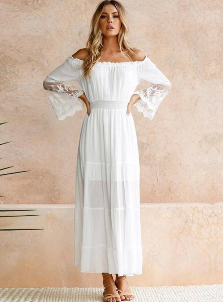 6c77ea7616 Sexy Off Shoulder Lace Boho Cotton Maxi Dress – swellshe Gender:Women  Pattern Type:Solid Dresses Length:Ankle-Length Silhouette:Loose Decoration: Lace ...