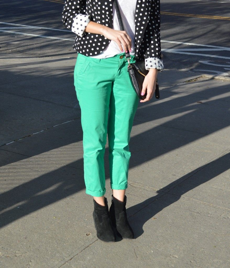 polka dots colored pants and booties