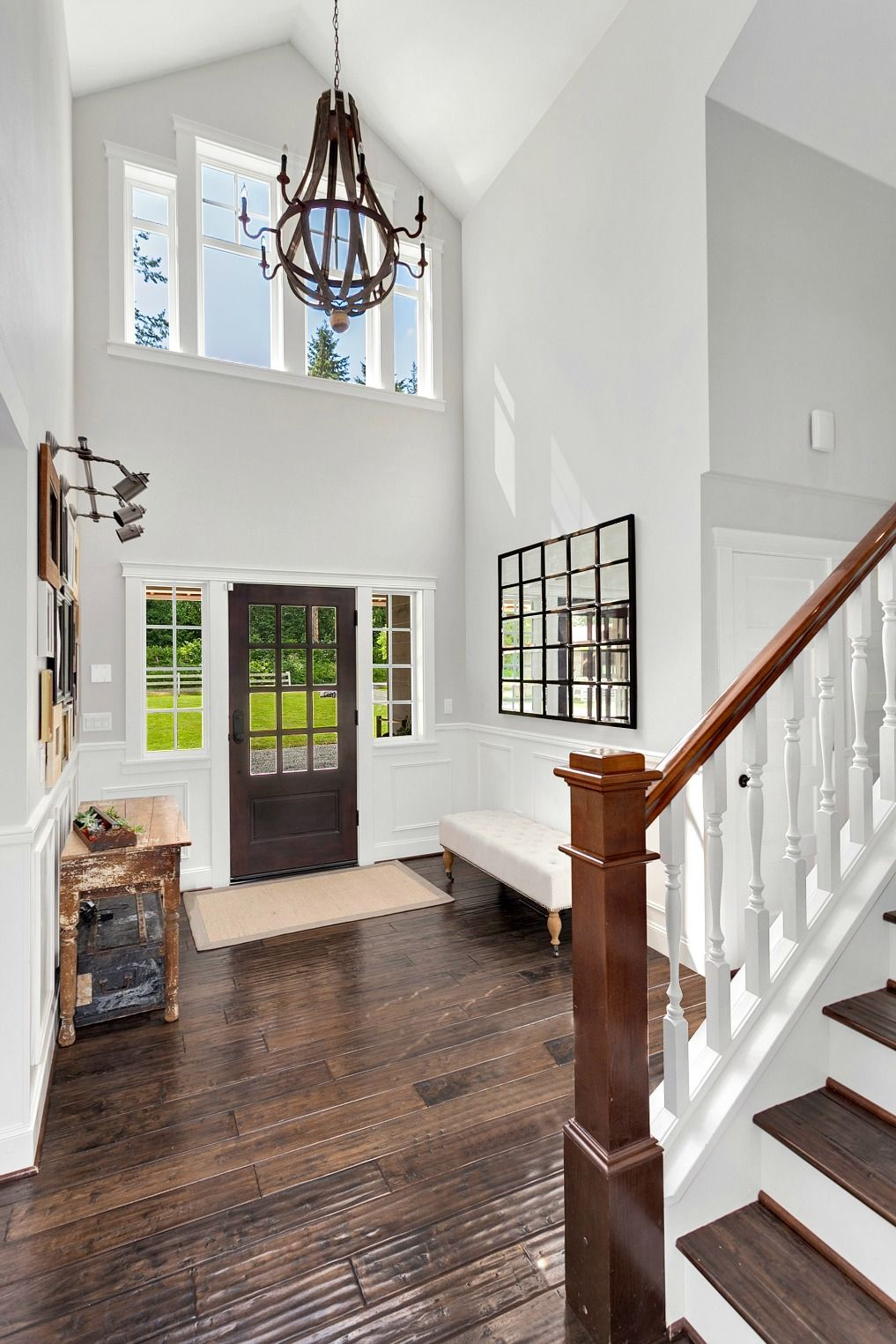 Modern Chandelier For Two Story Foyer : Dramatic two story foyer in this modern farmhouse love