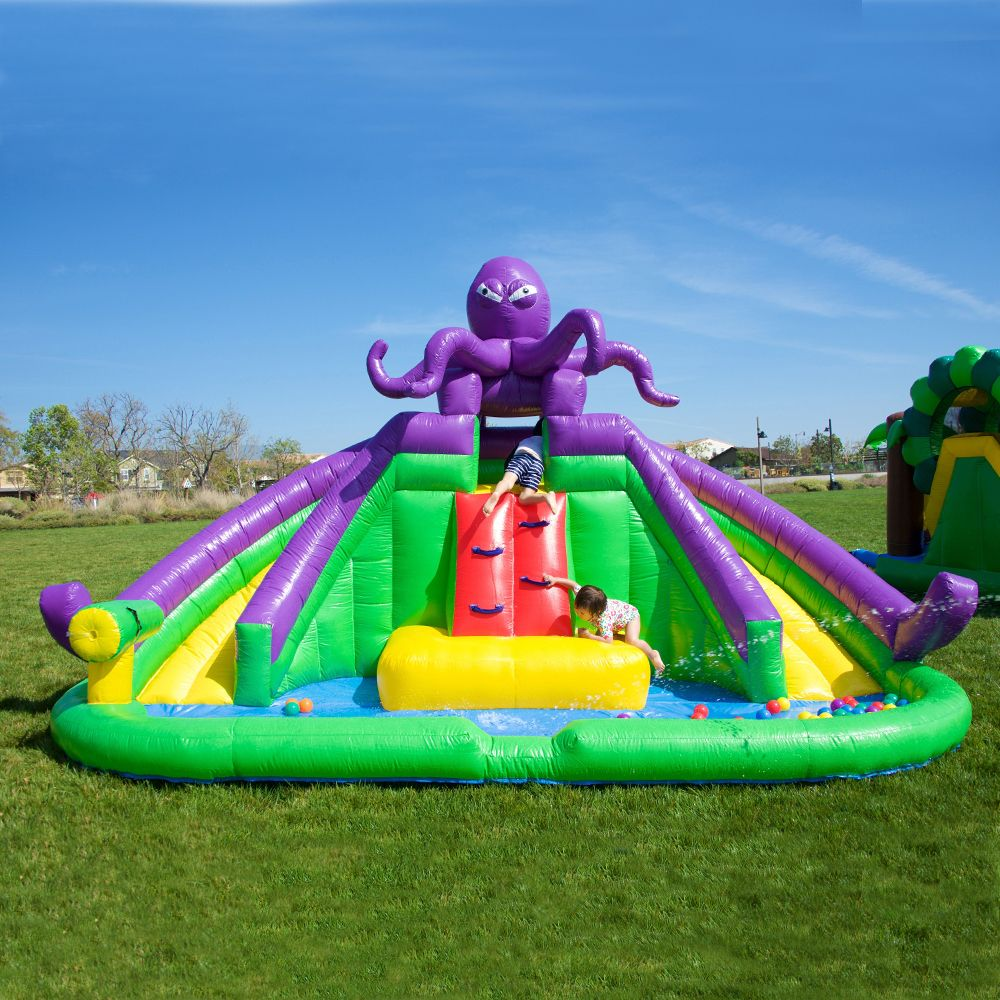 ACTION AIR Inflatable Waterslide Splash Pool /& Water Gun Ideal for Kids Bouncy House for Both Wet and Dry Extra Thick Material and Durable AM0452 Kids Waterpark with Slide for Outdoor Fun