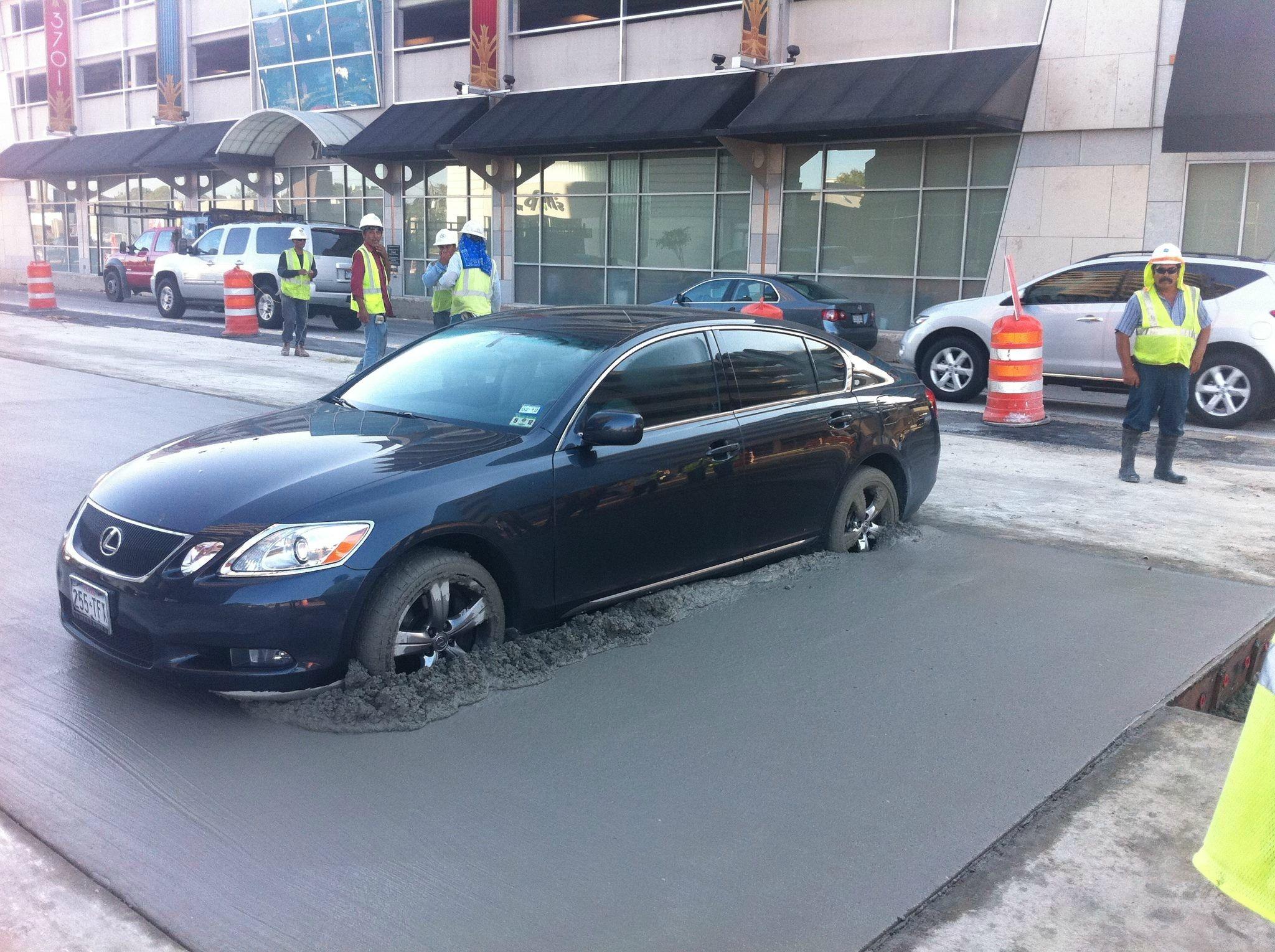 Dumb Drivers That Got Stuck In Wet Cement