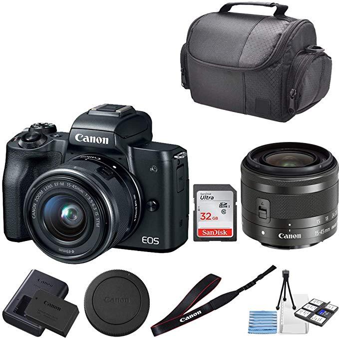 Amazon Com Canon Eos M50 Mirrorless Digital Camera With 15 45mm Lens 32gb Sandisk Memory Professional Carrying Case Ca Digital Camera Sandisk Canon Eos