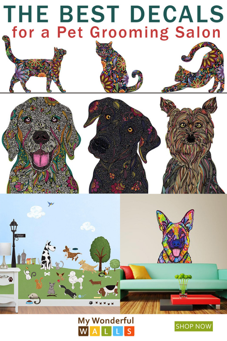 Love These Easy To Apply Decals For A Pet Grooming Salon So Many Colorful Cats And Dogs Fill Dog Grooming Salons Dog Grooming Salon Decor Pet Grooming Salon