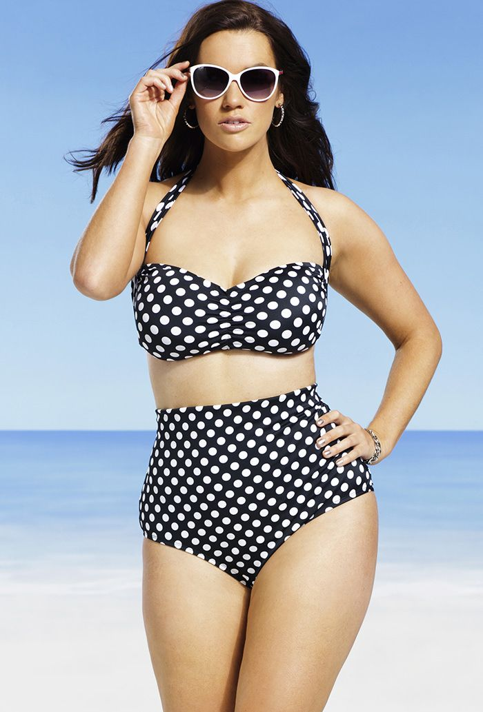 swim sexy polka dot plus size bandeau halter high waist. Black Bedroom Furniture Sets. Home Design Ideas