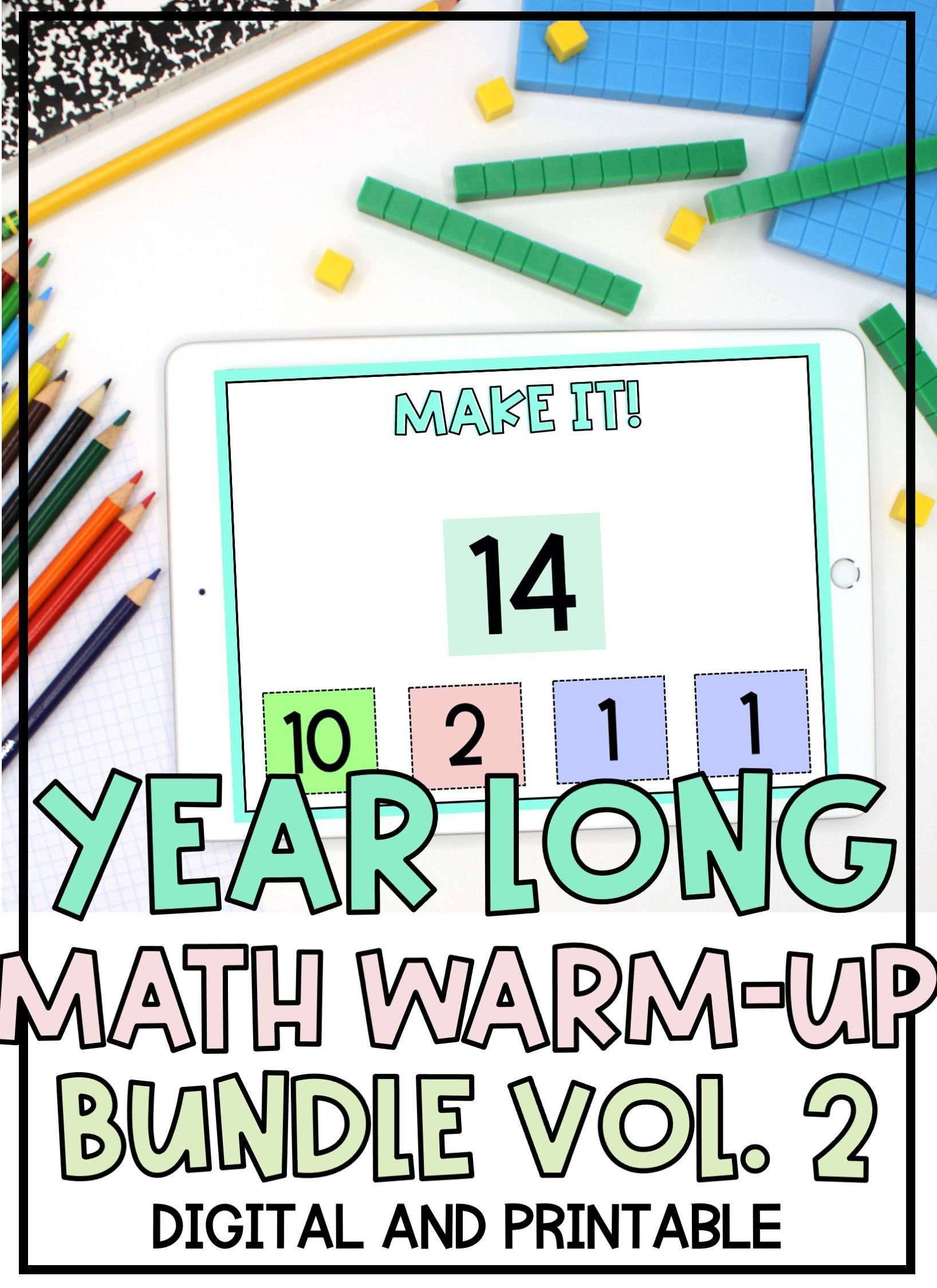 Distance Learning Math Warm Ups Yearlong Volume 2 Growing Resource Math Distance Learning Elementary Math [ 2249 x 1636 Pixel ]