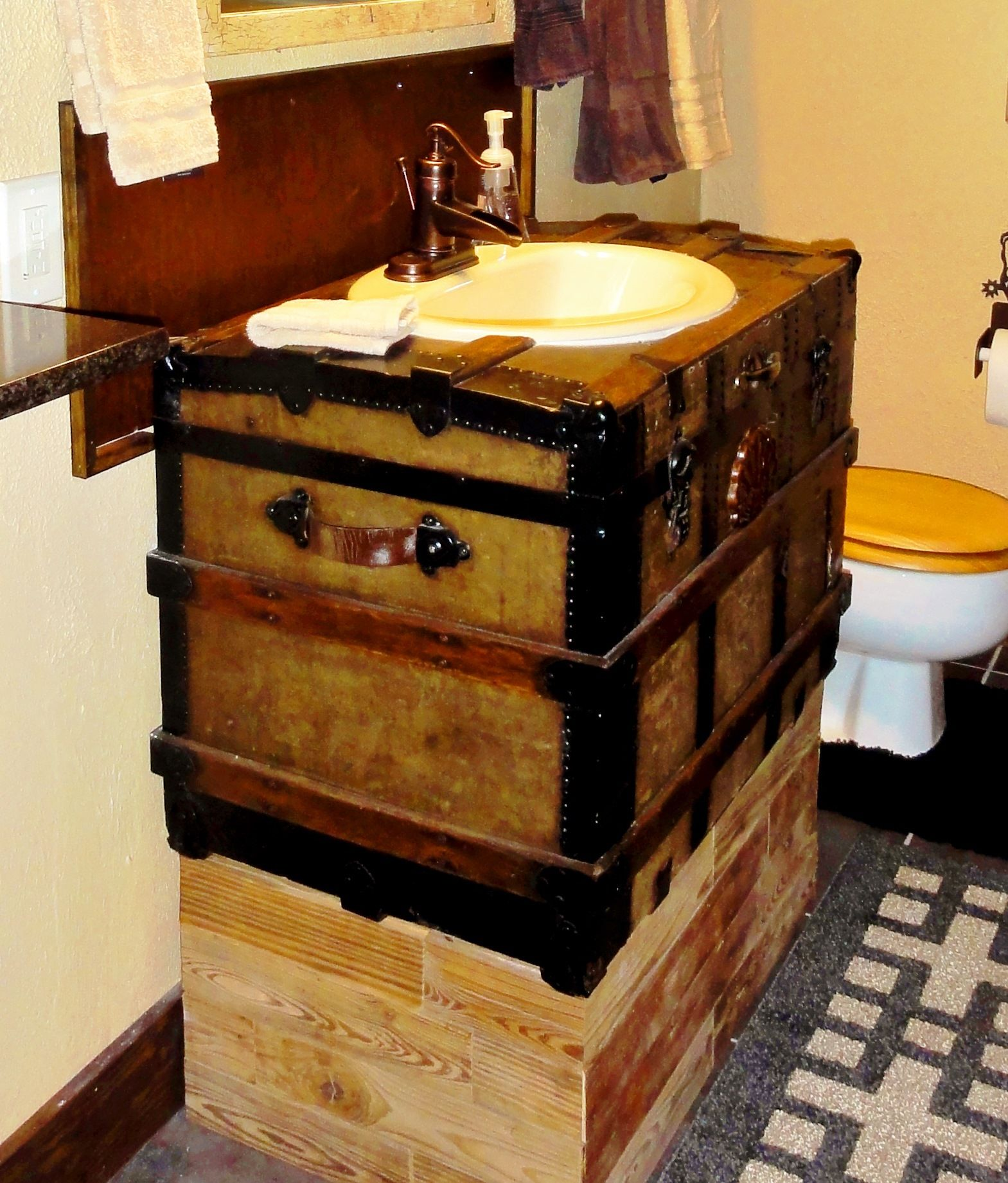 Bathroom Sink Made From An Old Western Trunk The Water Pump Faucet Found At Home Depot The Wood Ba Lake House Bathroom Sink Repair Rustic Bathroom Shower