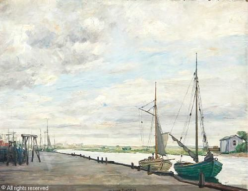 Johan Rohde 1856 1935 Skibe Ved Et Bolvaerk 1905 Eres Maravilloso
