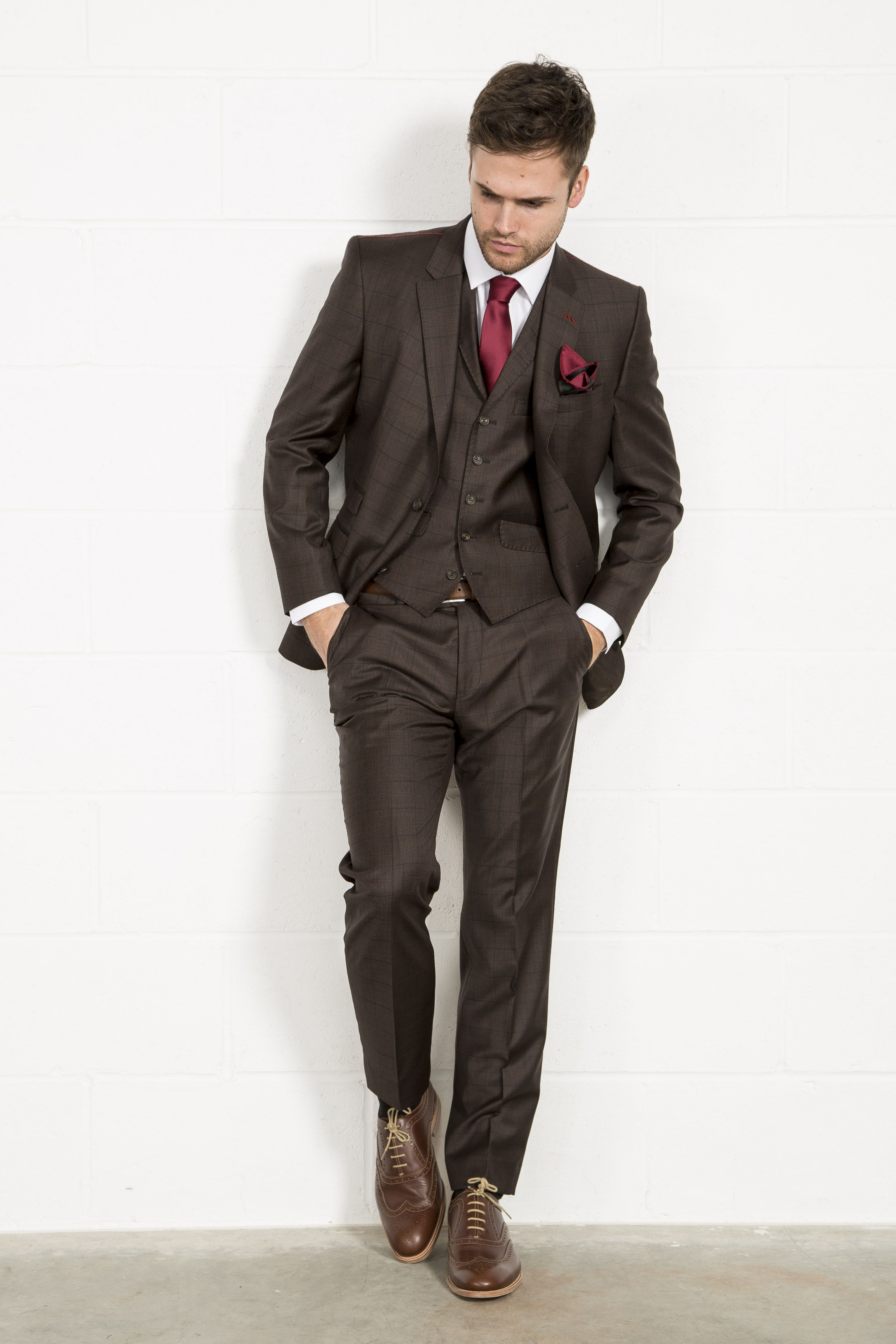 JIMMY BEE Luxury Wool Mix Brown Check Three Piece Suit // Slater ...