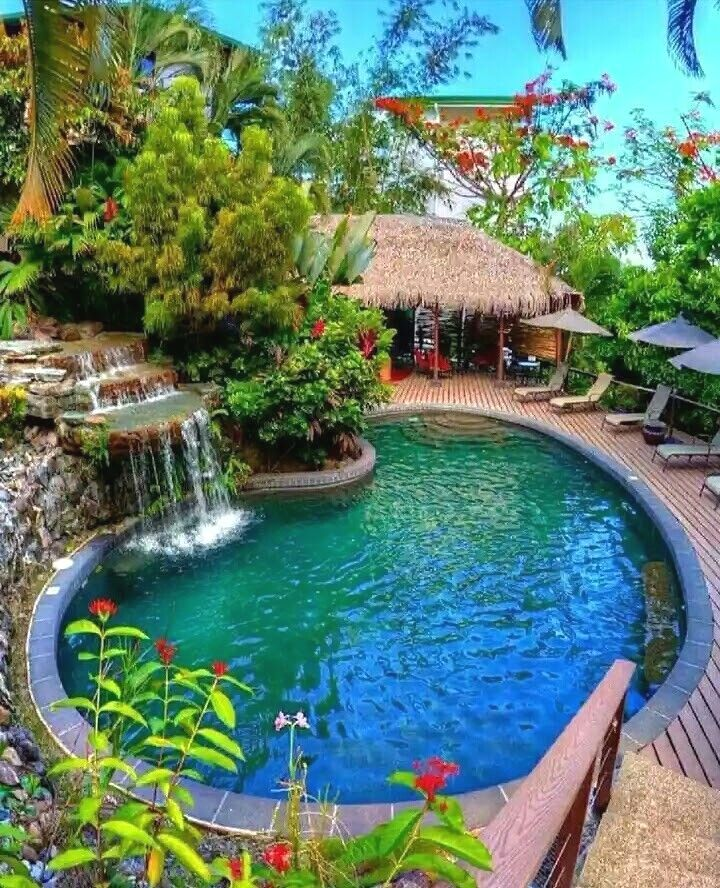 Top view of Swimming pools at tropical beach in luxury hotel Stock Image