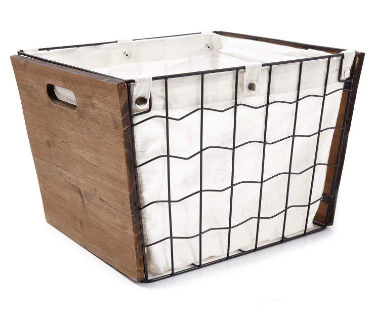 Wire Storage Bin With Snap Canvas Liner