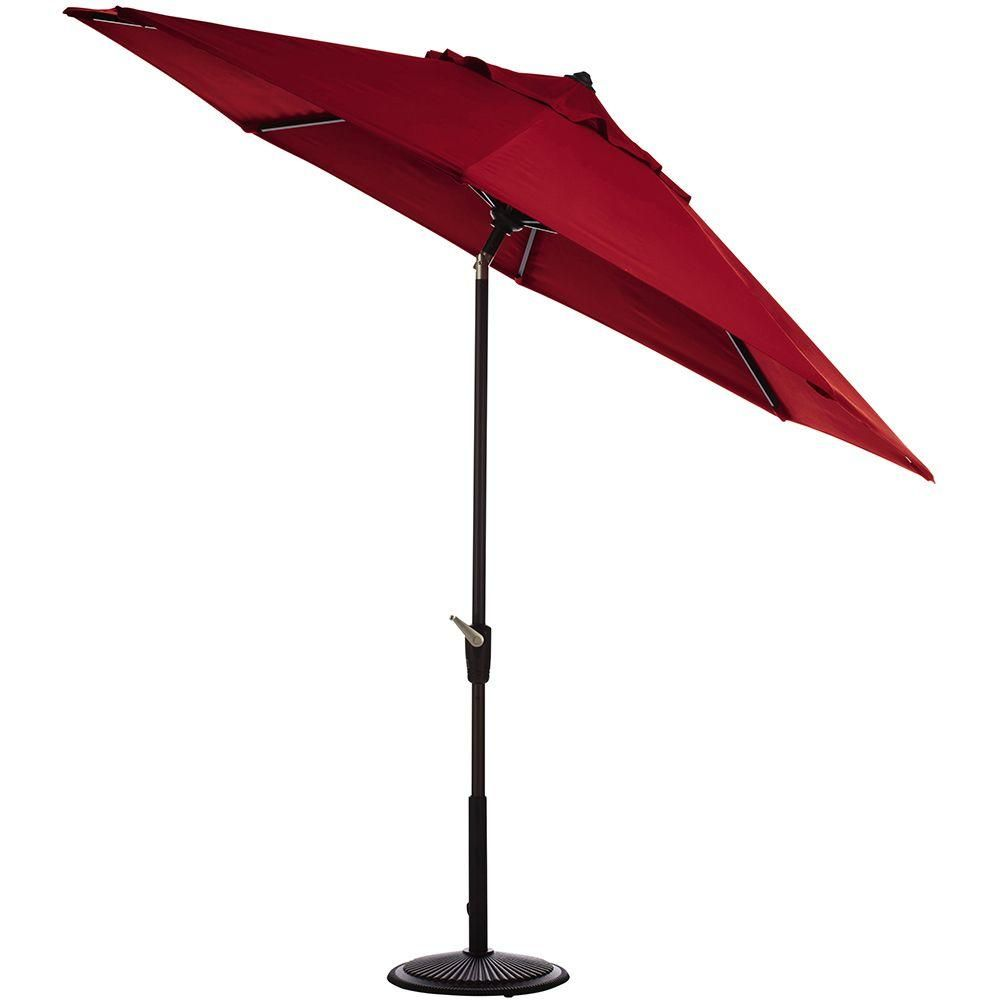 Home Decorators Collection 11 Ft Auto Tilt Patio Umbrella In Red Sunbrella With Black Frame Products Market Umbrella Outdoor Patio Umbrellas Outdoor Umb