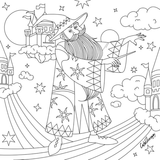 Wizard Color Therapy App Free Coloring Pages Halloween Coloring Coloring Pages