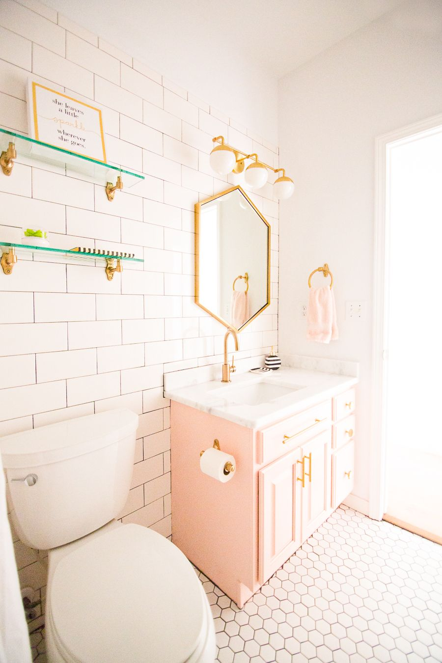 Modern Glam Blush Girls Bathroom Design   CC and MIke   Design Blog is part of Bathroom - I am so very excited to share with you our Modern Glam Blush Girls Bathroom Design from our most recent remodel reveal  Our Modern White Farmhouse Reveal