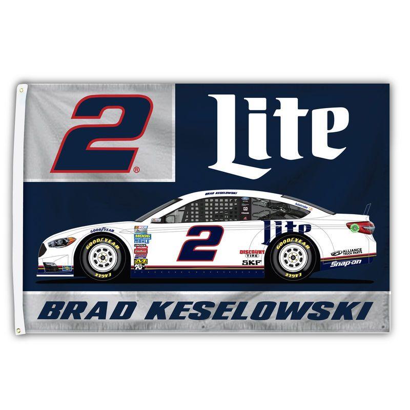 Brad keselowski 3 x 5 sponsor logo singlesided flag