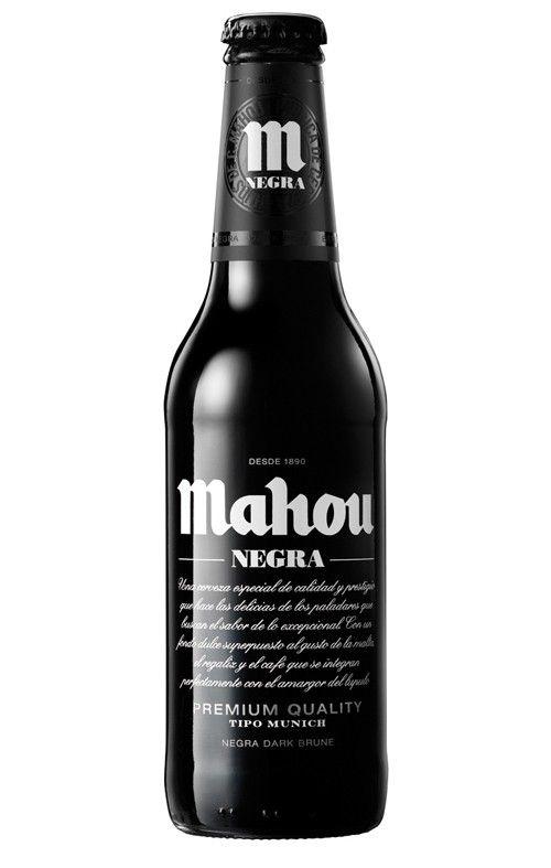 Cerveja Mahou Negra, estilo Dark American Lager, produzida por San Miguel, Espanha. 5.5% ABV de álcool.