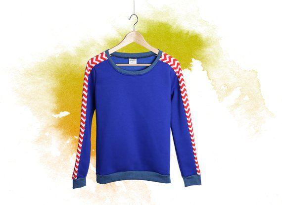 newest 16b58 94145 Damen Pullover Oberteil blau rot weiß, Pulli handgemacht in ...