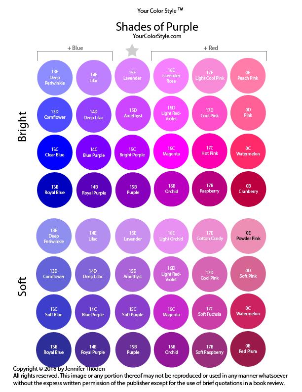 Shades Of Purple Farbenlehre Wintertyp Outfits Und Farbtypen