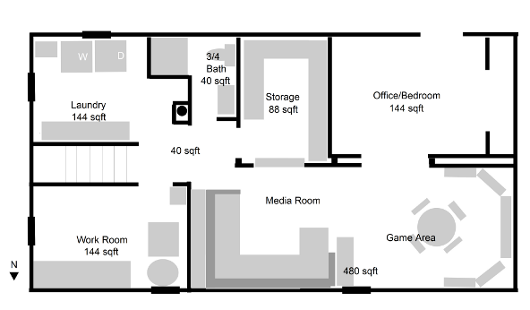 basement layout idea- craft not laundry combined with