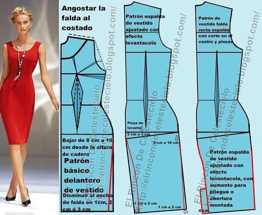 27ef87843e Patrones para vestido ajustado falda tubo o lápiz