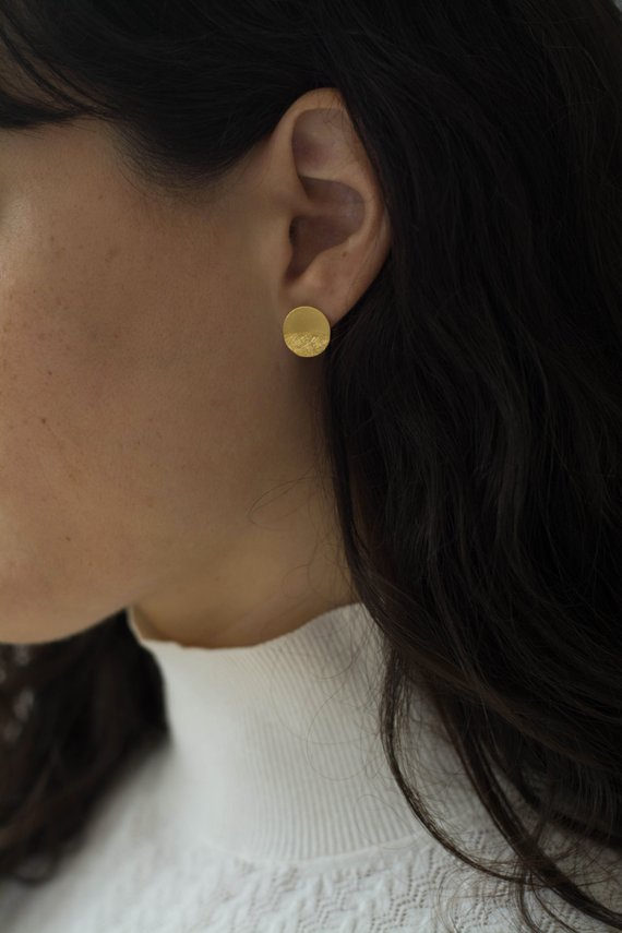 431a934f6 gold disc earrings, gift for her, minimalist circle studs, gold coin posts,  golden round texture ear