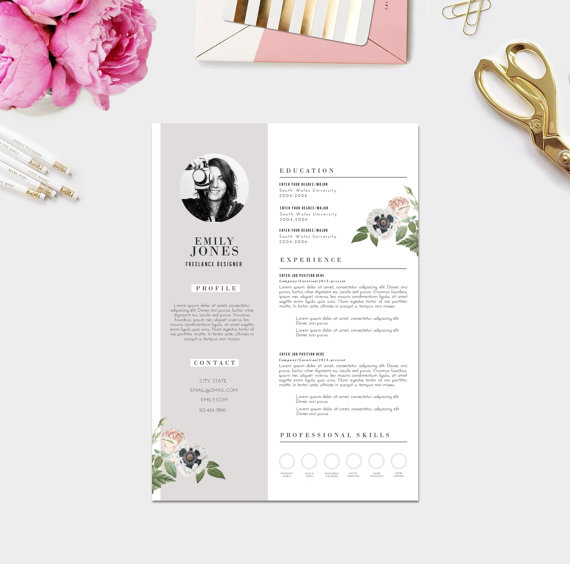 Creative Resume + Photo / Custom CV Template + Custom Cover Letter ...