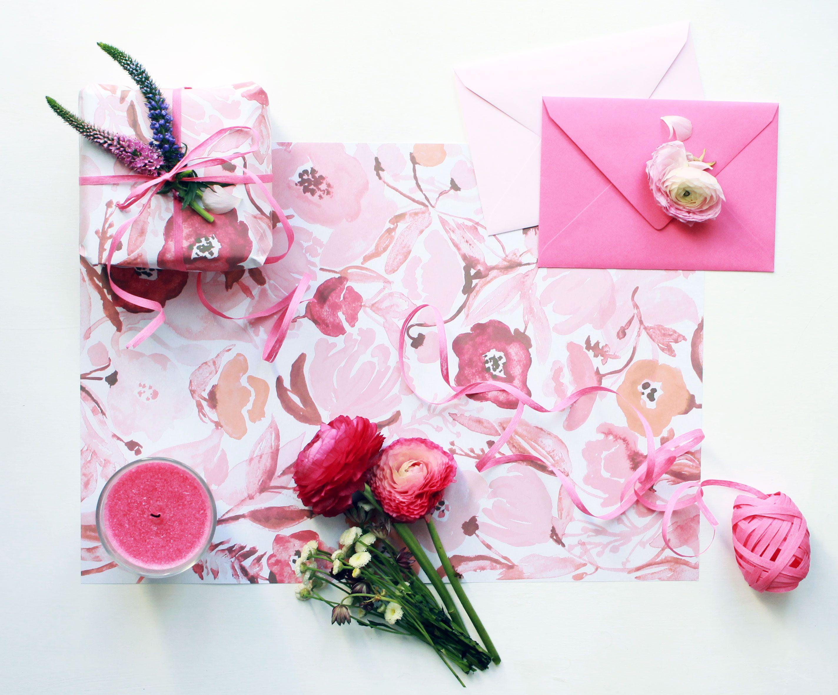 geschenkpapier zum ausdrucken aquarell blumen pink. Black Bedroom Furniture Sets. Home Design Ideas