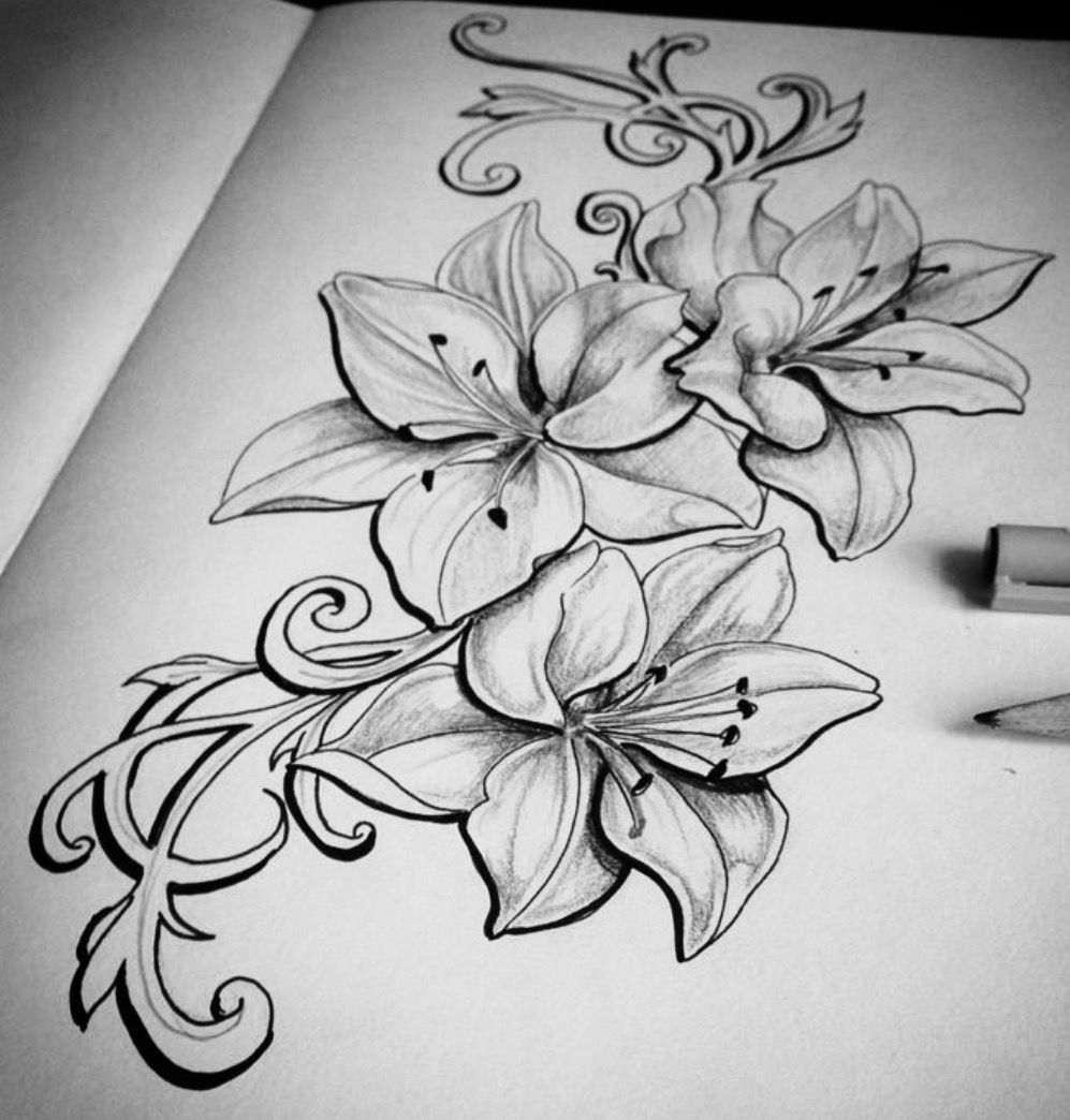But with orchids would be better my tattoo ideas pinterest love this style flower lillies beautiful izmirmasajfo Choice Image