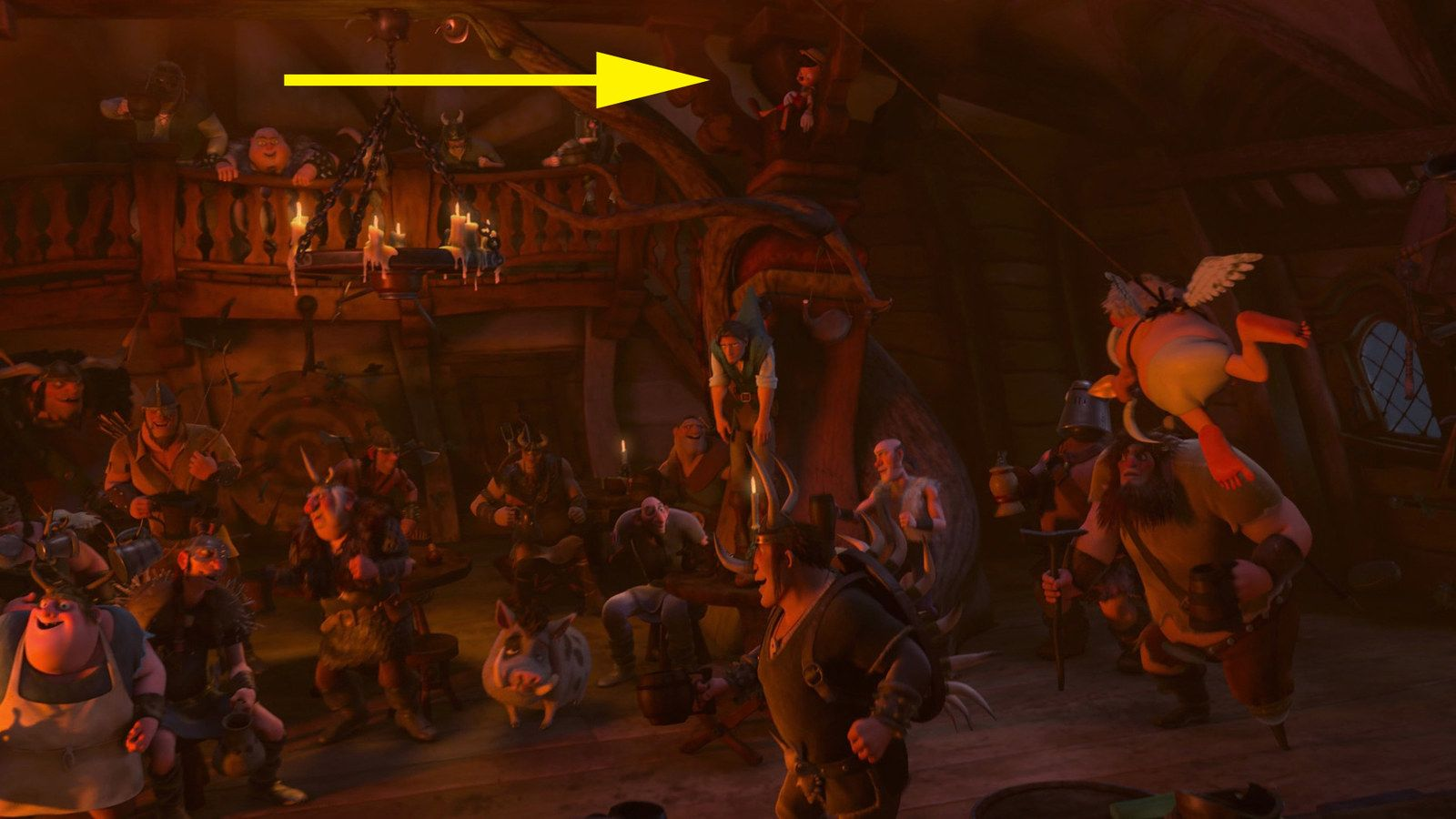 Pinocchio Is Hidden High Up In The Rafters Above Flynn Rider - 24 disney movies secrets