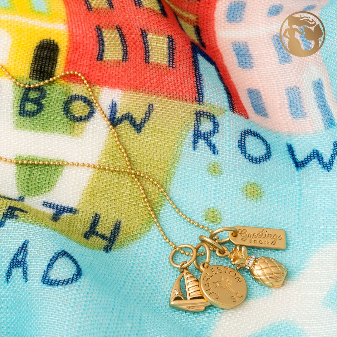 Spartina 449 Charleston Charm Necklace  Jewelry  Gold  Pineapple  Sail  Boat  Lowcountry