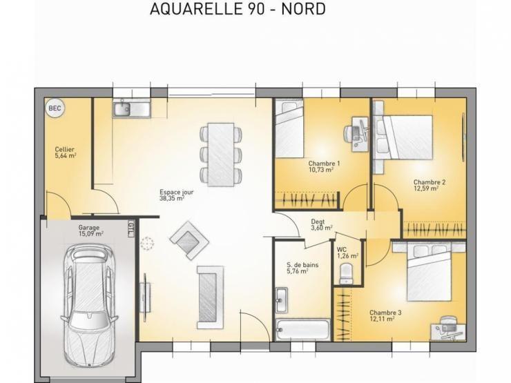 Plans De Maison : Modèle Aquarelle : Maison De Plain Pied De 90m2. 3  Chambres #Maison #plans #PlainPied #MaisonsFranceConfort