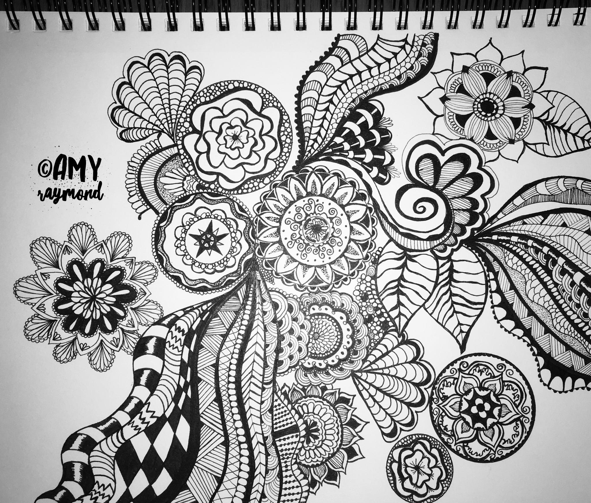 Zentangle 1 2 17 By Amy Raymond Doodle Micron Bw