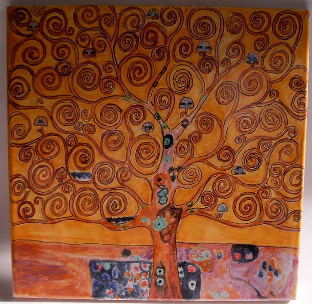 Mattonella in ceramica dipinta a mano.Albero della vita di Klimt