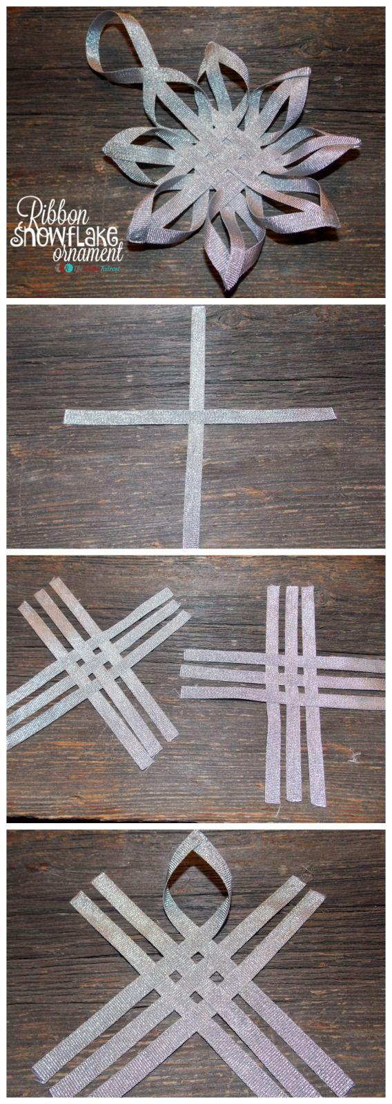 Paper tissue snowflake christmas decorations - Ribbon Snowflake Ornament The Ribbon Retreat Blog Also A Cute Idea For