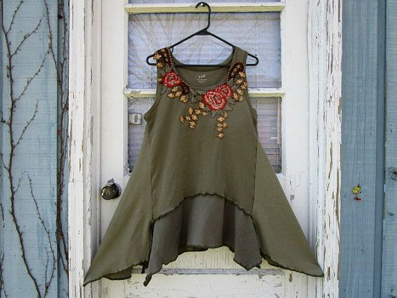 Lg. Olive Green Reconstructed Floral Cotton Tank Top Tunic// Upcycled// emmevielle