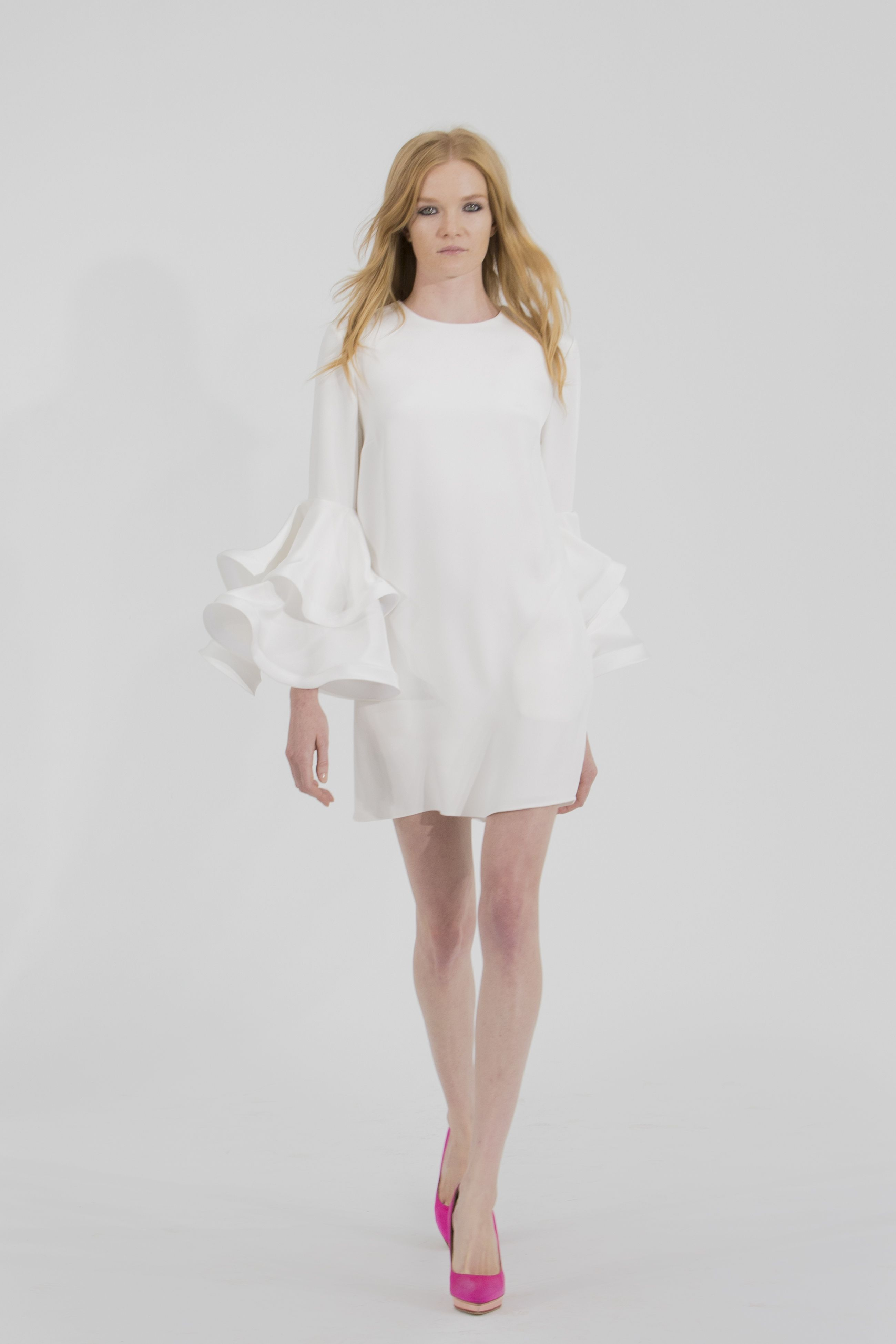 Damien silk shift mini dress with tiered bell sleeve www for Tiered wedding dress with sleeves