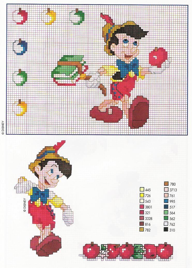 Pinocchio con mele e abecedario libri for Schemi a punto croce gratis