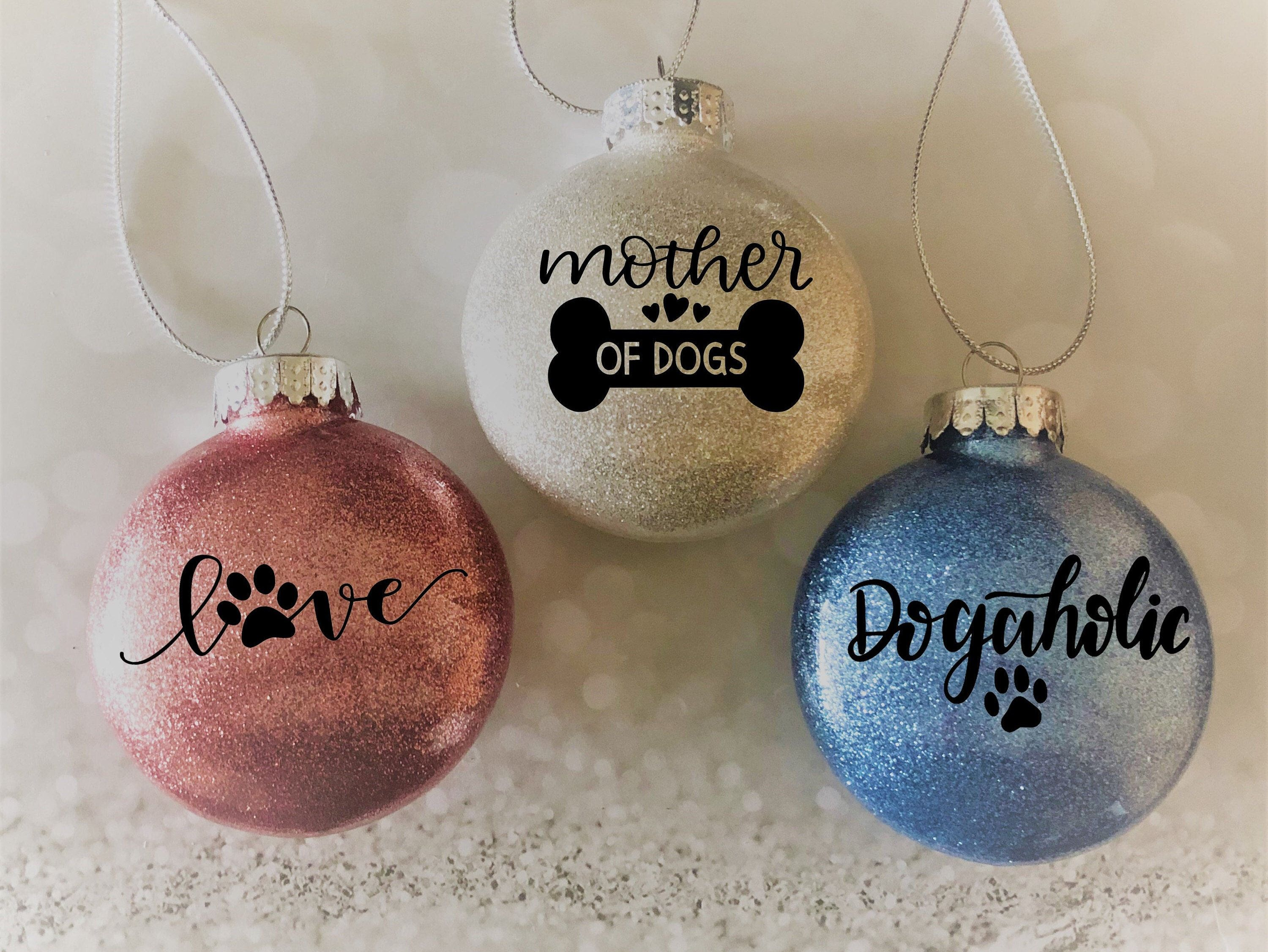 Mother Of Dogs Love Dogaholic Glitter Ornaments Dog Etsy Homemade Christmas Ornaments Diy Glitter Ornaments Dog Ornaments