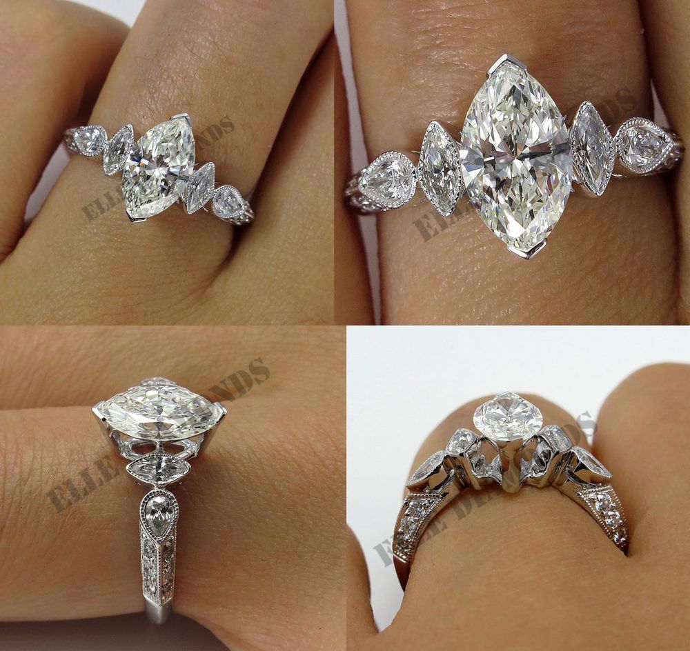 14k White Gold Over 2ct Marquise Shape Diamond Wedding Ring In Women All Size Elled Marquise Shape Diamond Wedding Anniversary Rings Engagement Rings Marquise
