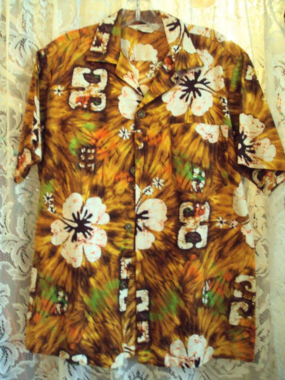 e85869c4 Vintage 1960s Royal Hawaiian Shirt, barkcloth, at RetroRosiesVintage ...