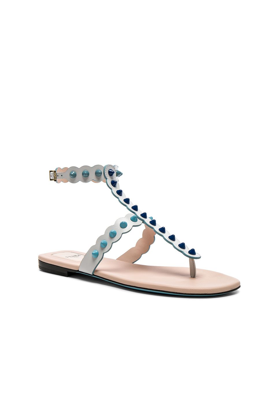 d2640aee4308c Fendi Studded Leather Gladiator Sandals in White   Multi