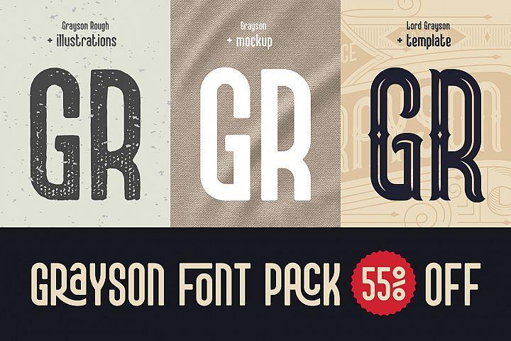 Download Grayson Font Pack. 55 OFF! (534724) | Regular | Font ...