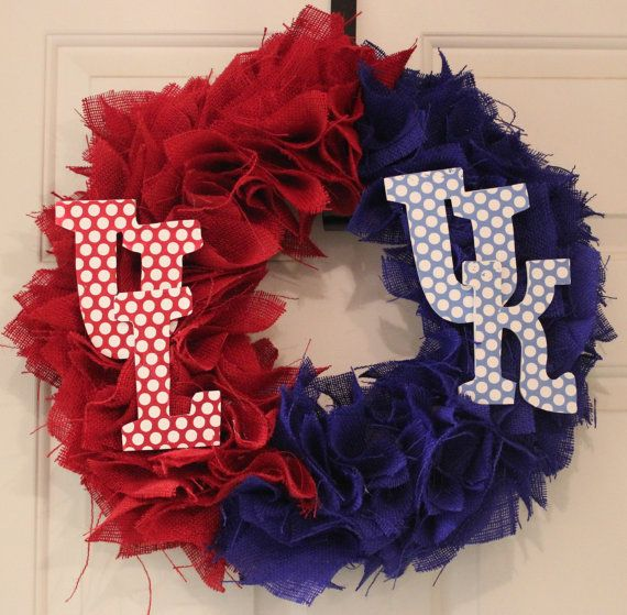 UK vs UL House Divided burlap wreath by ThePurplePansyCo on Etsy, $50.00